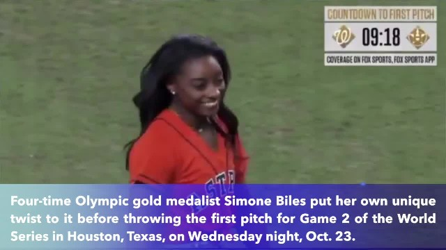 Simone Biles backflips, throws out the 1st pitch in World Series Game 2