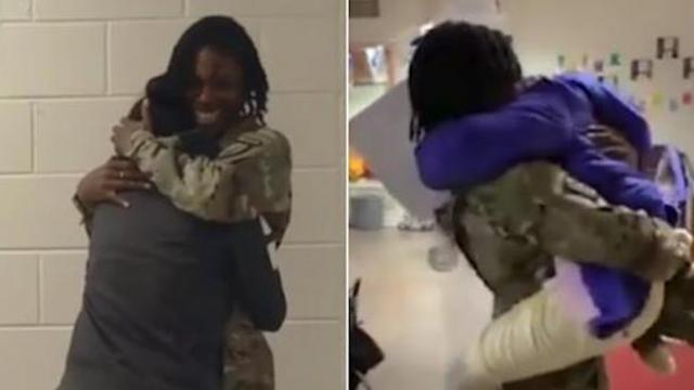 Army mom surprises her three children with homecoming after nine-month deployment to Afghanistan