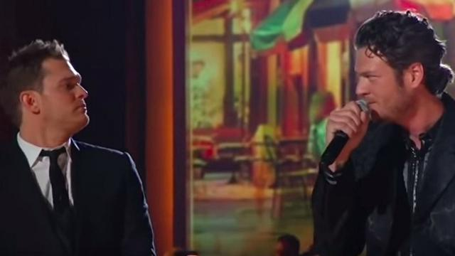 Fans confused when Blake Shelton joins Michael Buble on stage but unlikely duet has them begging for