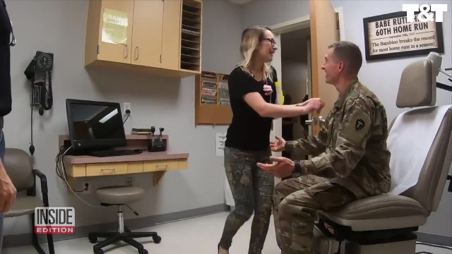 Doctor Walks into Room To See Patient, Finds Army Husband Waiting for Her Instead