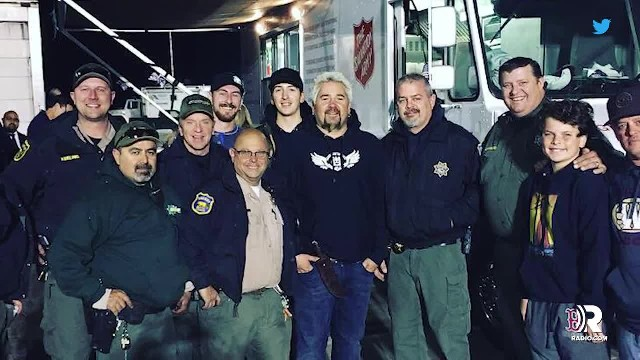 Firefighters are exhausted after battling California wildfires, then spot Guy Fieri setting up tent