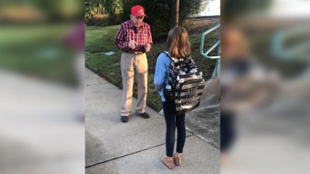 Girl admits she's been talking to a man before school, so mom goes with her to see what he says