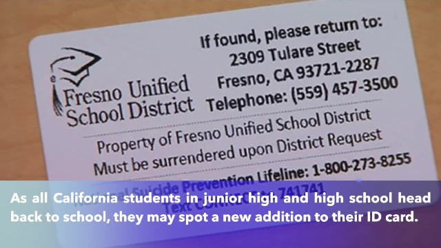 California requires suicide prevention hotline printed on the back student ID cards
