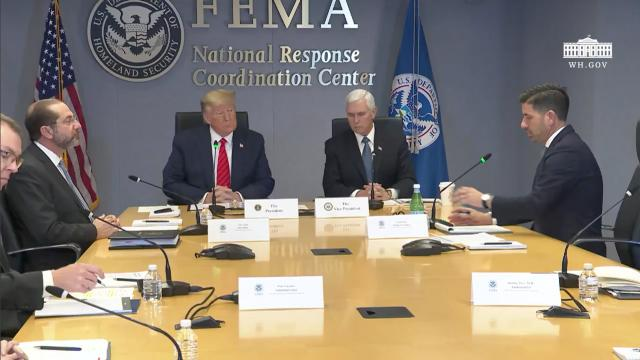President Trump at the federal emergency management agency headquarters