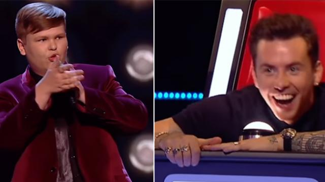 """Voice"" judges think kid is punking them when they hear his deep voice."