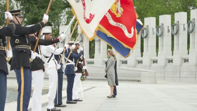 President Trump and Melania Trump visit the world war II memorial