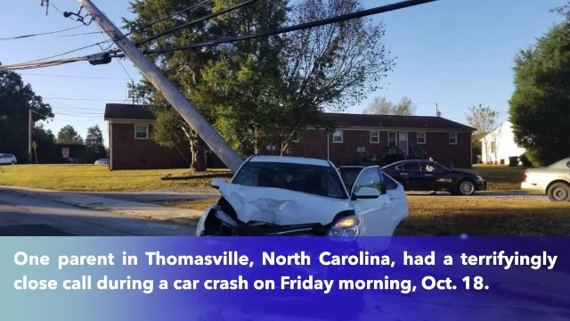 Utility pole skewers car right after parent drops child off at school, North Carolina police said