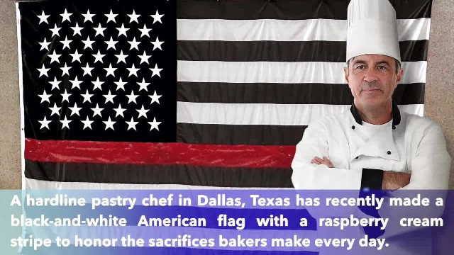 Texas hardline pastry Chef makes American flag with raspberry cream stripe to honor sacrifices baker