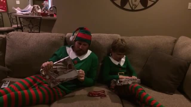 Watch: Dad and Son Surprised with Baby Gifts on Christmas Eve, But Son Doesn't Understand