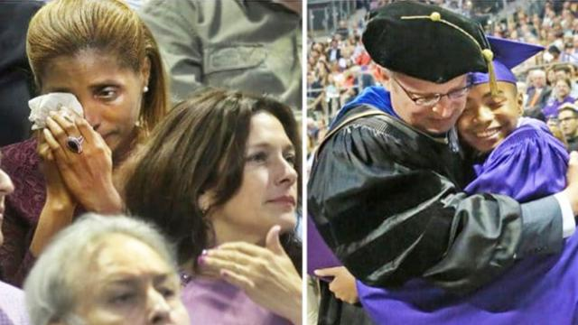 Mom breaks down in tears as age 14 son walks across stage to