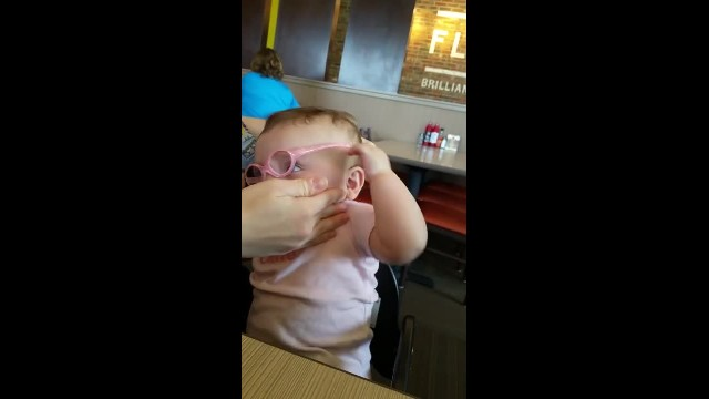 Baby sees her mom's face clearly for the first time. Her reaction is delightful at 10 months old, ba