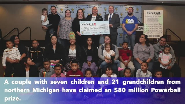 Northern Michigan couple with 21 grandchildren claim $80 million Powerball
