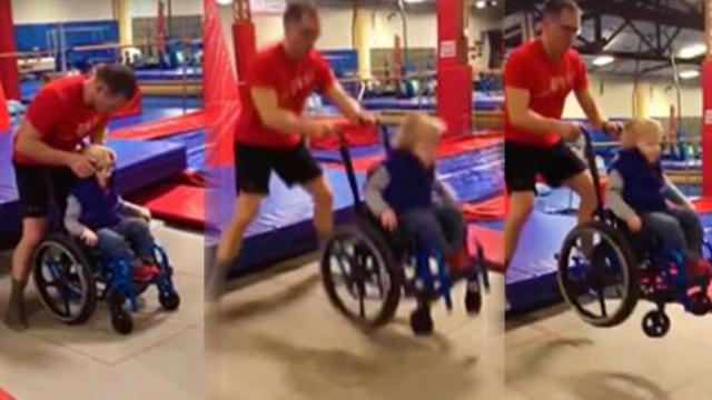 Little boy in wheelchair jumps for joy on trampoline for first time ever