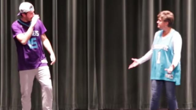 "Mother and son step onstage, but mom steals show in hilarious ""evolution of dance"" performance"