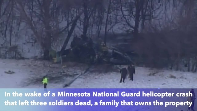 Family raises flag near where Minnesota National Guard helicopter crashed