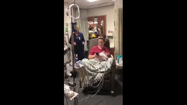 Watch: Soldier husband sneaks into hospital as wife is visiting preemie twins in NICU
