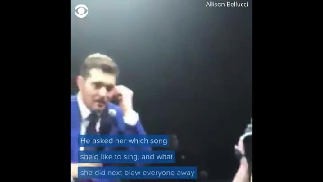 Michael Buble picks nervous girl in audience to sing knocking him back when she unleashes stirring v