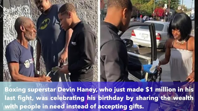 Boxing star Devin Haney serves up crab legs, shrimp, and cash to homeless