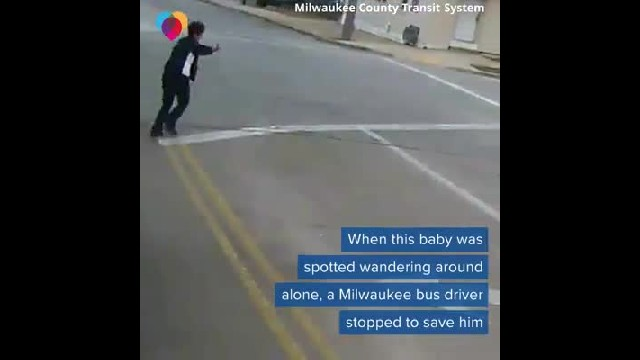 Heroic bus driver rescues baby wandering streets alone in the cold