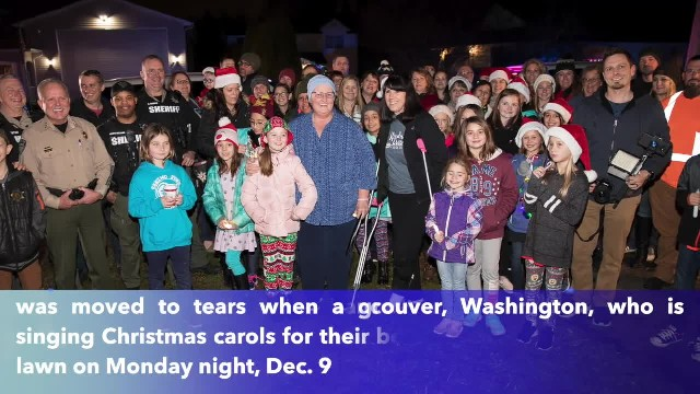 Dozens of Washington students surprise teacher fighting cancer with Christmas carols on her front la