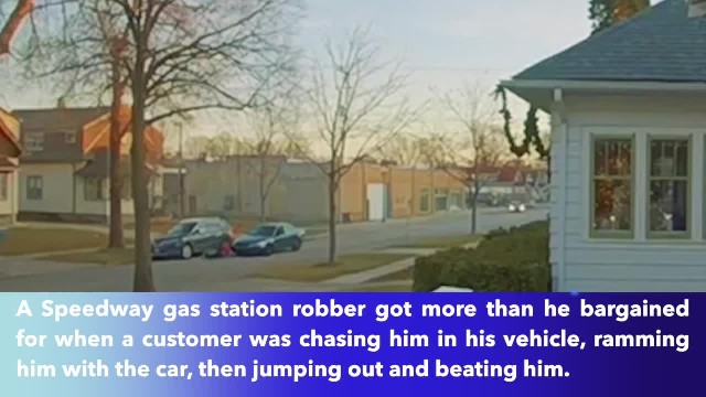 Man takes down gas station robber by hitting him with car, beating him up