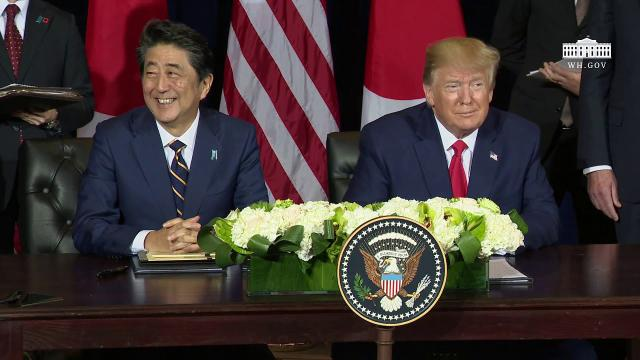 President Trump Participates in a Signing Ceremony with the Prime Minister of Japan
