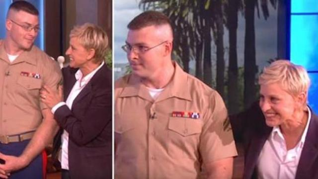 Ellen reunites marine with wife, but when curtain pulls back, she's holding baby he never met
