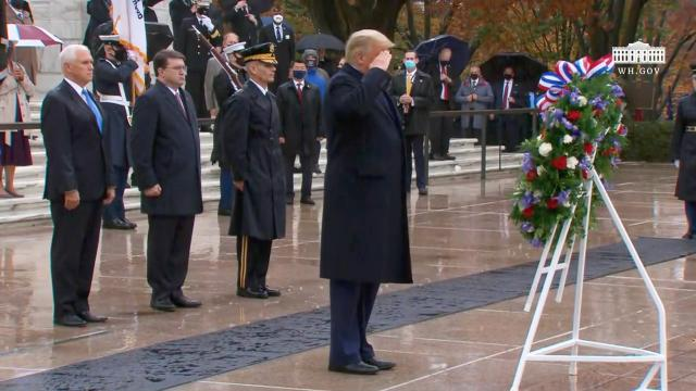 President Trump and The First Lady participate in a national veterans day observance
