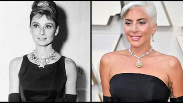 Lady Gaga turns heads in a diamond necklace that was last worn by Audrey Hepburn in 1961