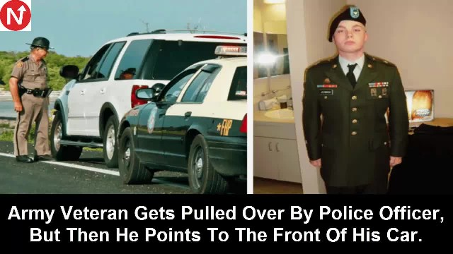 Young Army veteran is pulled over by local cop. Officer walks up and points to item on dash