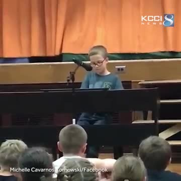 Audience is left in disbelief when 4th grader sits at piano and belts out John Lennon classic