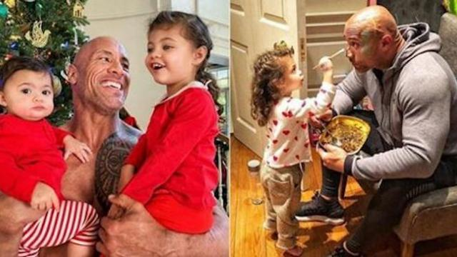Dwayne Johnson hugs his daughters, cherishes every moment