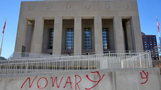 Soldiers Memorial vandalized overnight in downtown St. Louis