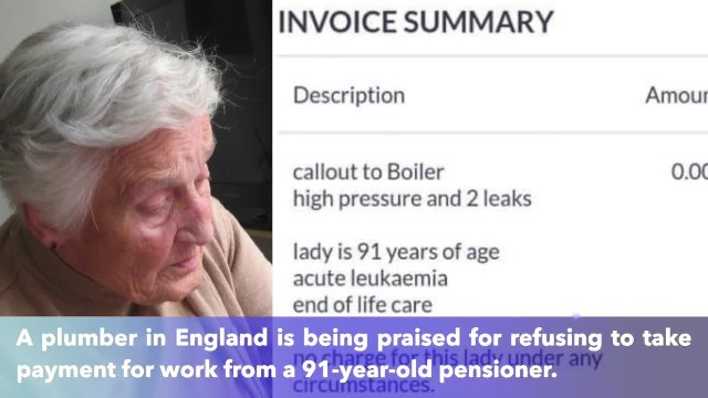 Plumber goes viral after refusing to take payment from 91-year-old pensioner