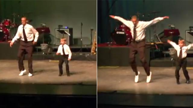 Four-year-old steps onto stage with instructor, only for duo to bring down the house with dancing sk