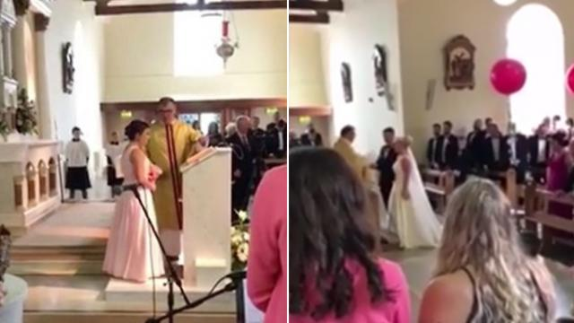 Teenage daughter sings mother's favorite song as mom walks down aisle at wedding