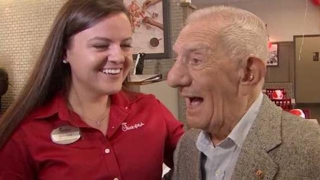 Chick-fil-A throws surprise party for 100-year-old customer, then reveal perfect gift