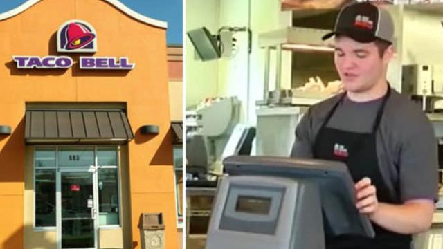 Woman watches Taco Bell Cashier take Man's order, then she realises what his hands are doing