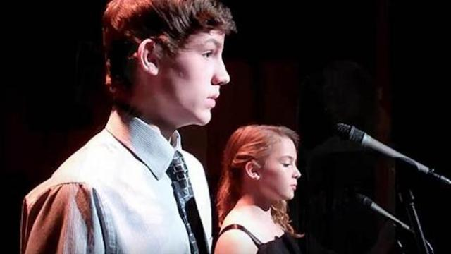 2 kids nervously walk onstage immediately take everyone's breath away singing 'The Prayer'