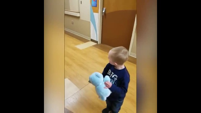 Boy with Down syndrome meets baby bro for 1st time and has gran running for camera
