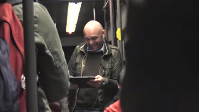 Man's cackling laughter on subway ignites hilarious chain reaction.