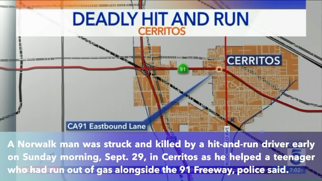 Man killed by hit-and-run driver while assisting teen motorist on the 91 Freeway in California