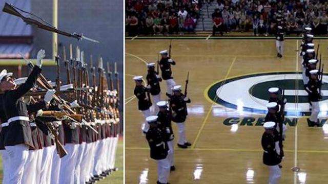 24 marines mesmerize high school with elaborate drill routine — in total silence