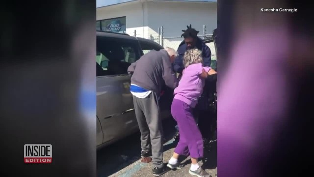3 Young Men Run From Gas Station To Grab Shaky Elderly Couple As Cop Stands In Awe Of Kindness