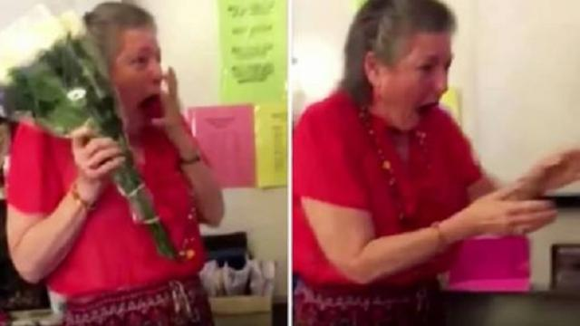 Teacher loses her beloved 16-yr-old cat, but bursts into tears when she sees student's surprise