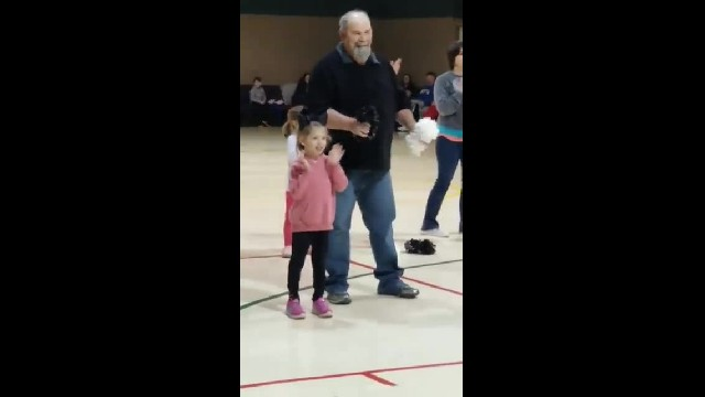 Scared Little Girl Freezes During Recital, So Grandpa Jumps Up To Dance With Her