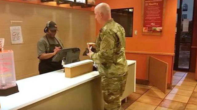 Soldier makes a quick decision in Taco Bell once he sees two people walk through the door
