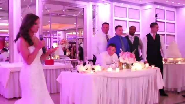 Bride Begins Speech, Then Suddenly Asks Six Cops To Stand Behind Groom