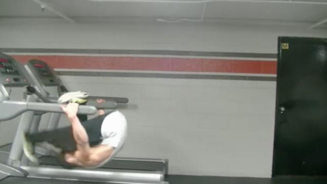 He jumps on the treadmill – but within seconds, no one can take their eyes away.