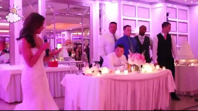 Bride begins speech, but suddenly, she tells 6 confused police officers to stand behind groom